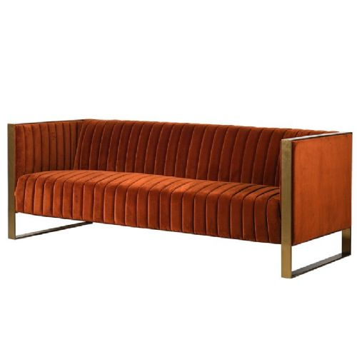 Naranja Orange & Gold Ribbed 3 Seater Sofa